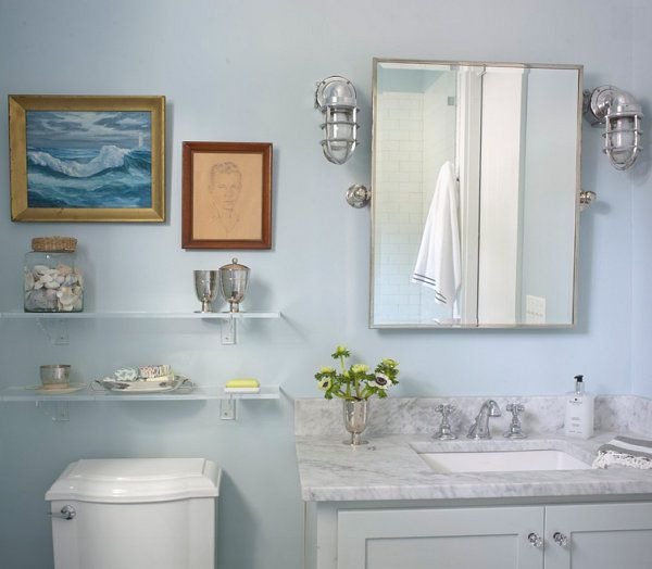 Bathroom Wall Shelves Make the Room Clean and Neat : Marvelous Wall Mounted Bathroom Shelves Furniture Also White Color Style And Traditional Wall Mirror Decor As Inspiration