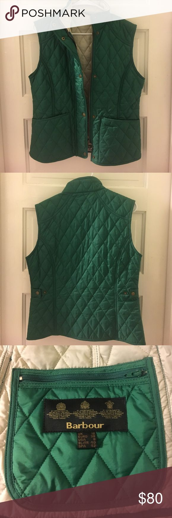 Quilted Barbour Vest Gorgeous green vest in perfect condition! Size 8, fits like a medium. No trades but will consider reasonable offers 😇 Barbour Jackets & Coats Vests