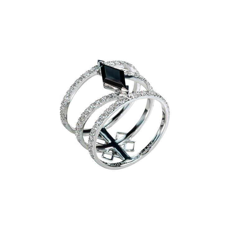 """Linee Misteriose"" Black Spinel Diamond Multi Band Ring - Plukka - Shop Fine Jewelry Online"
