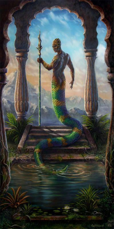 Original fantasy oil painting art serpent  by CarolPhillipsArt, $2000.00