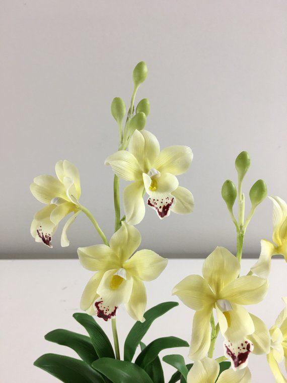 Cymbidium Orchid Polymer Clay Flower Sculpture Clay Flower Cold Porcelain Clay Flower Clay Flower Arrangement Christmas Gift Polymer Clay Flowers Flower Sculptures Clay Flowers