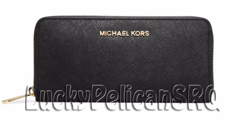 Michael Kors Jet Set Travel Zip Around Continental Wallet Saffiano Black NWT #MichaelKors #continental