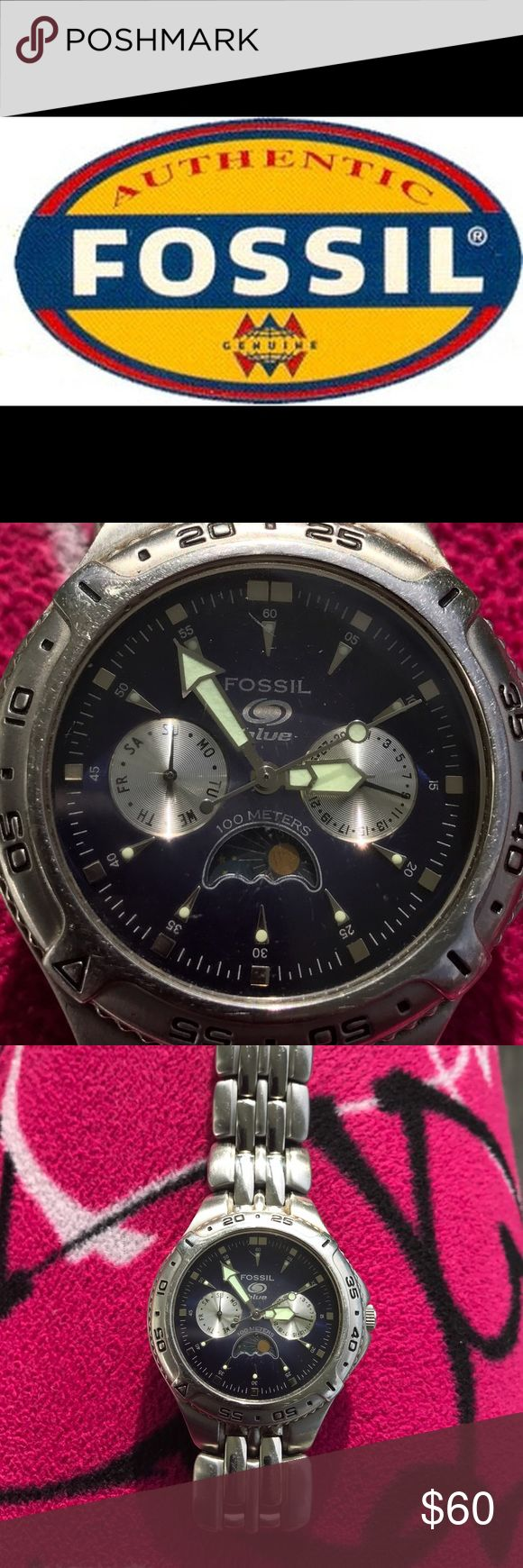Fossil Blue Watch This is a great work watch for men or women fits small to large wrist links can be removed to make smaller don't have box price reflects this. Thanks Fossil Accessories Watches