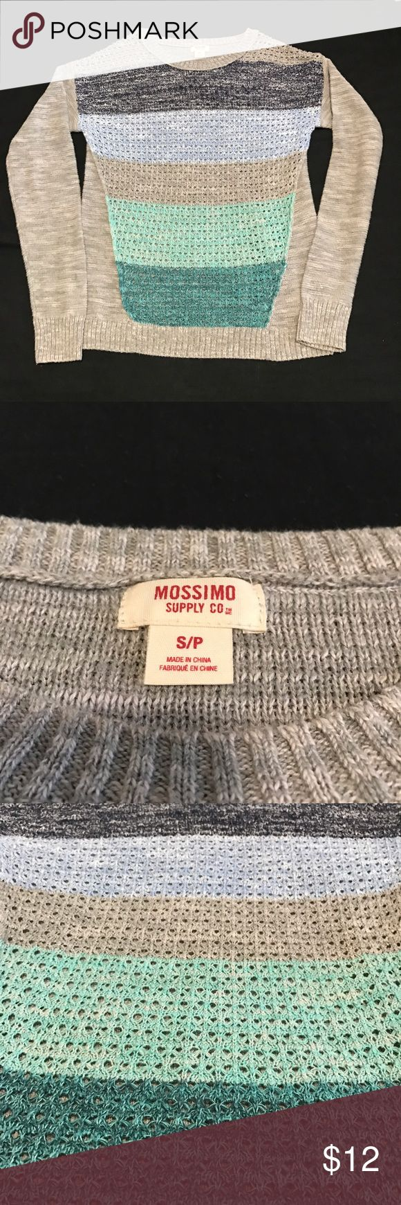 Mossimo Supply Company Knitted Colorblock Sweater Knitted sweater with different tones of blue down the front. Mossimo Supply Co. Sweaters Crew & Scoop Necks
