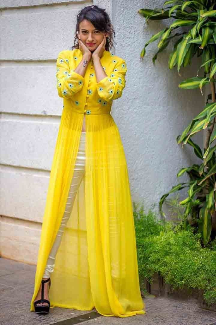 Georgette+Machine+Work+Yellow+Semi+Stitched+Pant+Style+Suit+-+V1822 at Rs 999