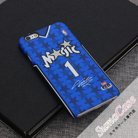 NBA(エヌビーエー)オーランド・マジック トレイシー・マグレディ ホーム&アウェイユニフォーム レトロ 背番号&サイン入り 殿堂入り スクラブ カバー型 PCハードケース for iPhone8/7S/7/6S/6/Plus