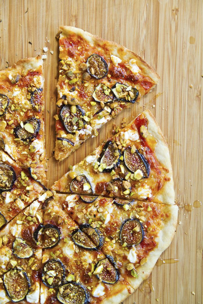 Fig Pizza with Goat Cheese, Pistachios and Honey | Cake Over Steak