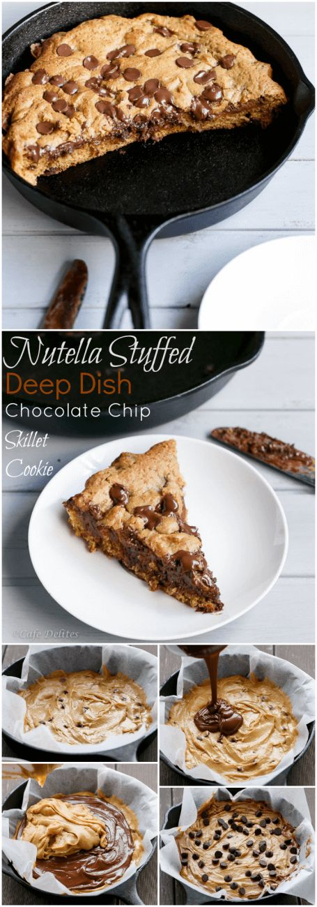 Nutella Stuffed Deep Dish Chocolate Chip Skillet Cookie Recipe (Pizookie)