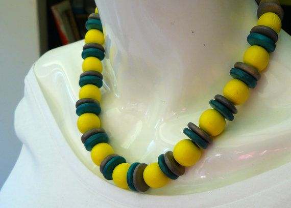 Yellow/Grey/Blue Wooden Beaded Statement by PolyHedraDesign