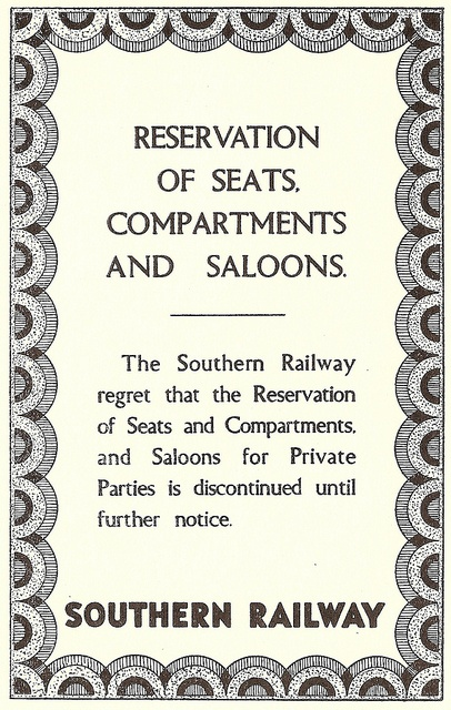 Southern Railway - discontinuation of reserved seats poster, 1939 by mikeyashworth,