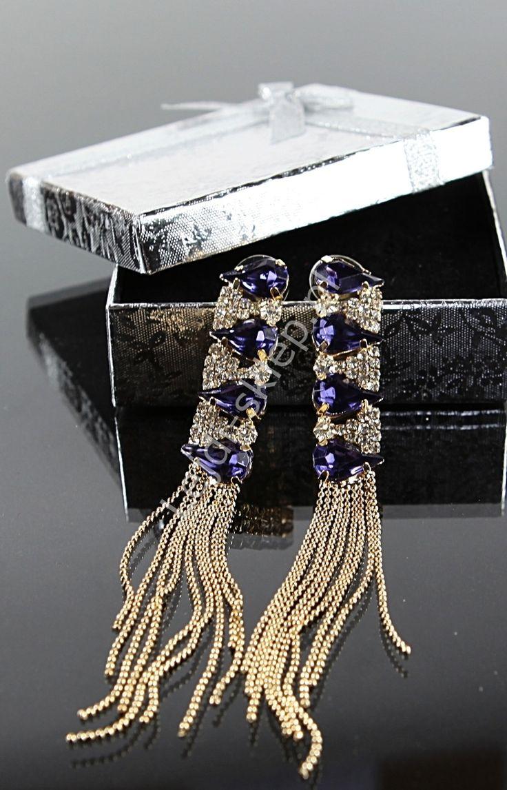 Kolczyki z niebieskimi kryształkami - łezkami   kolczyki wieczorowe. Blue earrings lejdi-sklep.pl