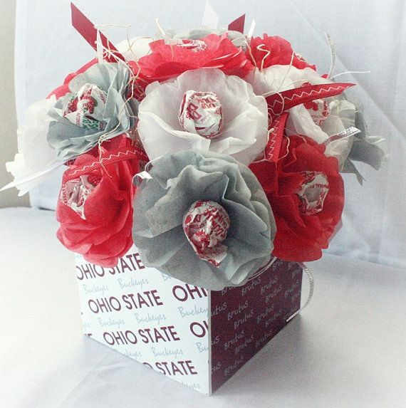 ohio state themed wedding | Tissue Paper Flowers Lollipop Sucker Ohio State Buckeyes Football ...