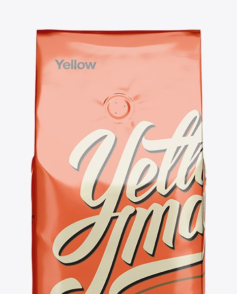 Foil Coffee Bag With Valve Mockup - Front View