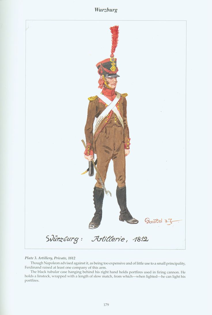 The Confederation of the Rhine - Wurzburg: Plate 3. Artillery, Private, 1812
