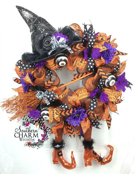 deco mesh halloween wreath witch wreath with hat legs halloween decor halloween door wreath