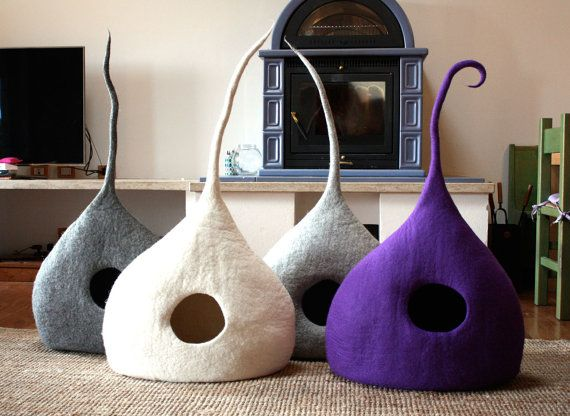 "Cat Cave ""Drop"", Cat Bed, Cat House, Pet Furniture. Hand-Felted (with olive oil soap) 100% Wool - MADE IN ITALY - Medium Gray - $108.72 - Super cool and modern for your cat to enjoy in your bedroom"