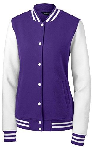 Sport-Tek Women's Fleece Letterman Jacket L Purple/ White [Apparel]