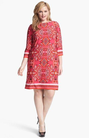 Eliza J Print Jersey Shift Dress (Plus Size) available at #Nordstrom