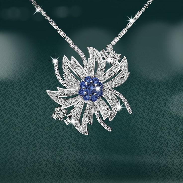Newbridge Maureen O'Hara Clear and Sapphire Pendant