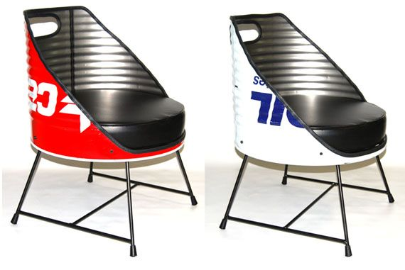 Vaho have come up with a good solution. Converted into lounge chairs, the Silla Bidon Oil Drum Chair features upholstered leather seats and retains some remnants of its old life as a barrel. The unique seat makes an interesting conversation piece whether in your workshop or living room.