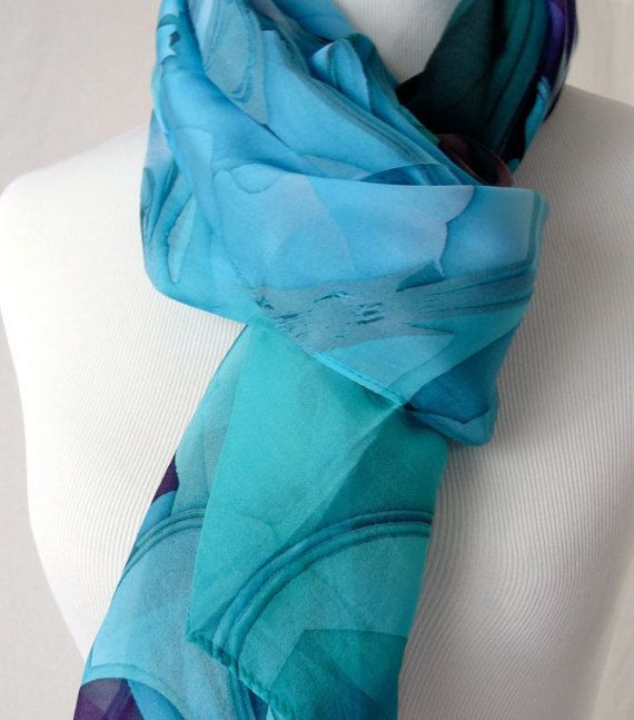 """Silk Chiffon Long  Scarf - """"Oceanic Blue"""" 3D Fractal design, Summer Scarf, Gifts for Women, unusual gifts, unique scarves"""