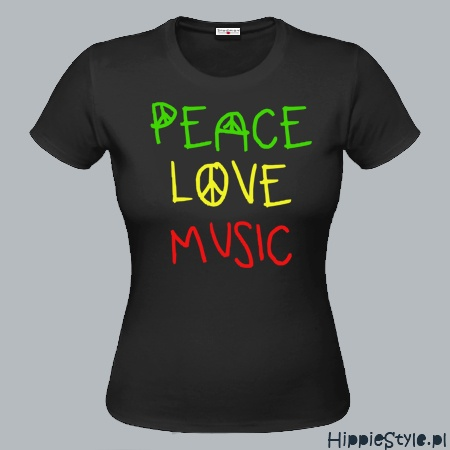 koszulka T-shirt PEACE LOVE MUSIC girl