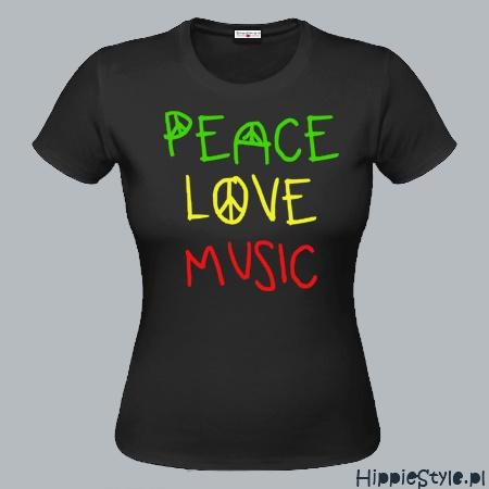 koszulka T-shirt PEACE LOVE MUSIC girl