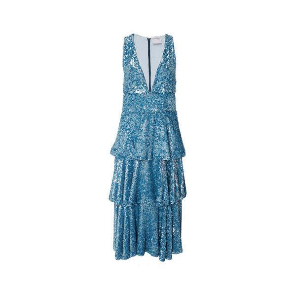 Cynthia Rowley Bondi Sequin Ruffle Dress (2.510 BRL) ❤ liked on Polyvore featuring dresses, knee length pencil skirt, sequin pencil skirts, blue pencil skirt, sequin skirts and cynthia rowley skirt