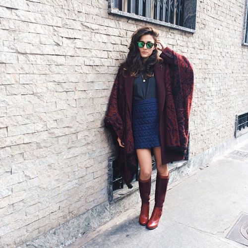 Your Holiday-Outfit Idea Handbook #refinery29  http://www.refinery29.com/best-holiday-outfits#slide7  Cap It Off With A Cape Blanket-like things aren't just for your couch — they also come in stylish-cape form, like Eleonora Carisi's. This burgundy number looks just as good paired with miniskirts and knee-high boots as it does with your PJs.
