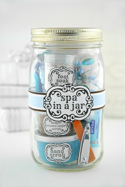 DIY spa in a jar, awesome idea and it looks a lot more expensive than it will be. You could also make the scrubs and lotions to a scent that the reciever particularly likes!<<<True!