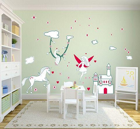 Zestaw dla dzieci biały zamek - zestawy naklejek - pokój dziecięcy - sklep all4wall.com.pl