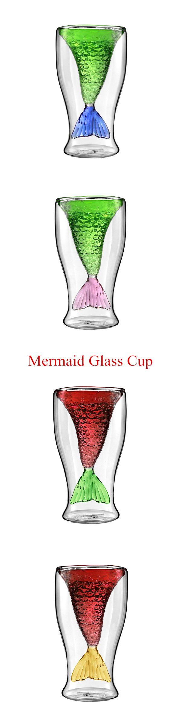 US$8.50 Double Layer Mermaid Glass Cup Wine Beer Vodka Drinking Bar Party Home Heat-proof Mug 100ML