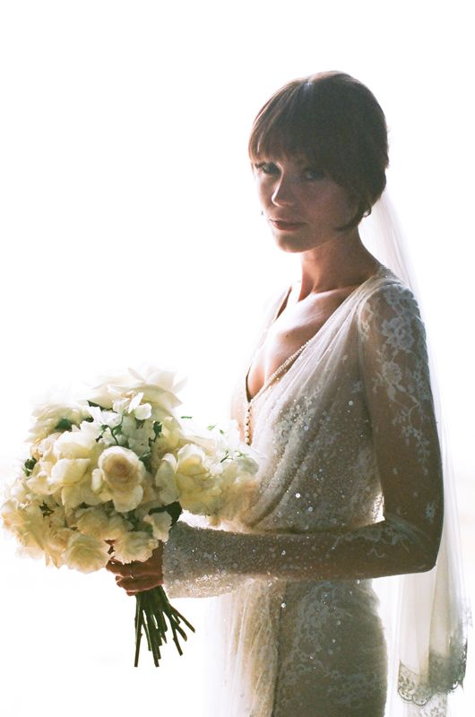 Real bride Gemma in Inbal Dror lace and sparkle wrap gown with long sleeves @mangostudios