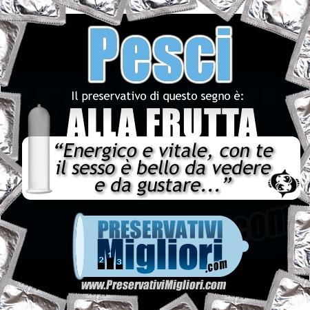 """Pesci - Preservativo alla frutta - """"Energico e vitale, con te il seso è bello da vedere e da gustare"""" - http://www.preservativimigliori.com/frutta.html"""