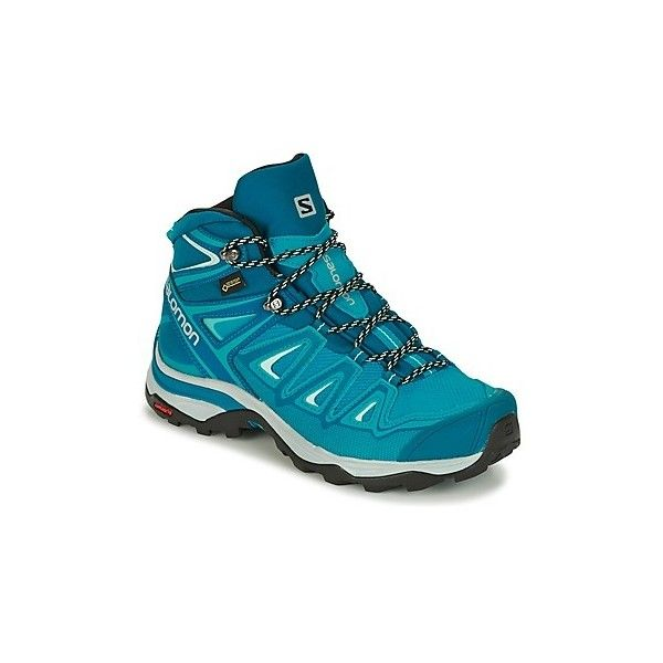 Salomon X ULTRA 3 MID GTX® W Walking Boots ($250) ❤ liked on Polyvore featuring shoes, boots, blue, salomon shoes, leather hiking boots, blue shoes, salomon and blue leather boots