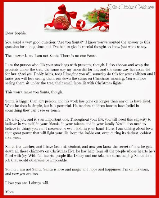 "The Chicken Chick®: ""Mom, How Can Santa Be Real?"" The Truth About Santa"