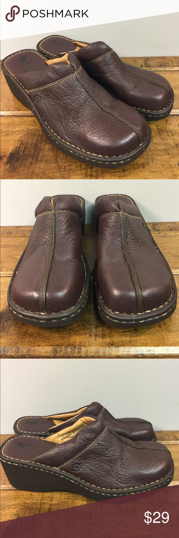 """Born 11M brown leather mules clogs casual shoes Born USA 11 medium brown leather slip on clogs are accented by tan top stitching.  2.5"""" heel. Light wear. No bad smells. Born Shoes Mules & Clogs"""