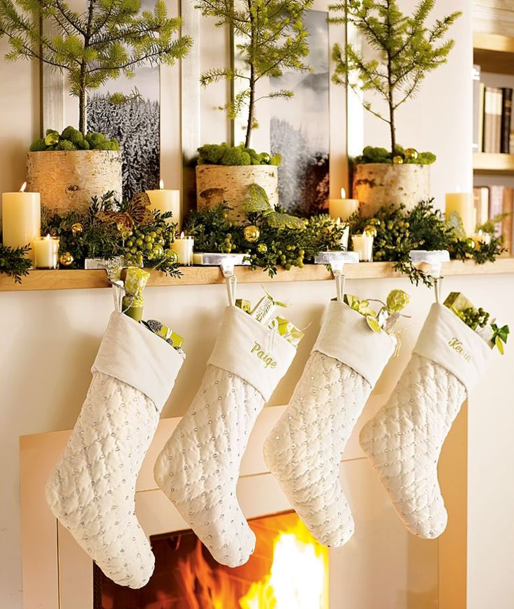 Fireplace Mantel stocking holders for fireplace mantel : 818 best Christmas Mantels images on Pinterest