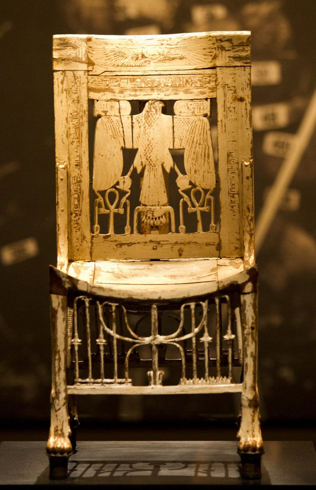 Chair found among the furniture placed in the tomb of Tutankhamun for the king's use in the afterlife   Wood, painted white; 75 cm high; Carter 349 I appreciate the details and love put into this chair used in the resting pace of a king.
