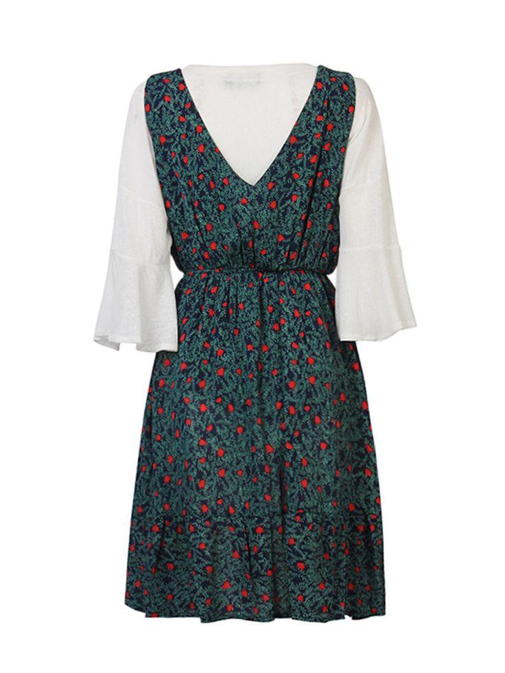 Women Casual Two Piece T-Shirt Floral Strap Dress Loose Set Suit at Banggood