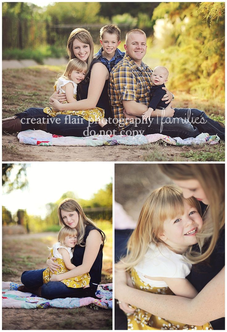 Family photography poses | Creative Flair Photography | El Paso, TX - Beautiful Images! - mustard yellows and darks blues. Finding a plaid shirt for one family member and matching skirts or shirts to those colors works beautifully as demonstrated in this group of images