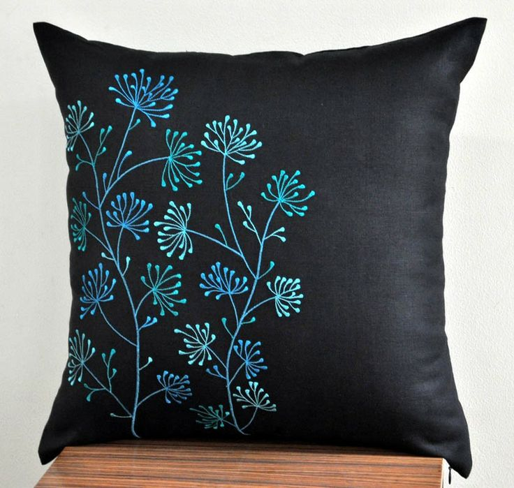 """Ixora Floral Embroidered Throw Pillow Cover - 18"""" x 18"""" Decorative Pillow Cover - Black Linen with Teal Floral Embroidery. $22.00, via Etsy."""