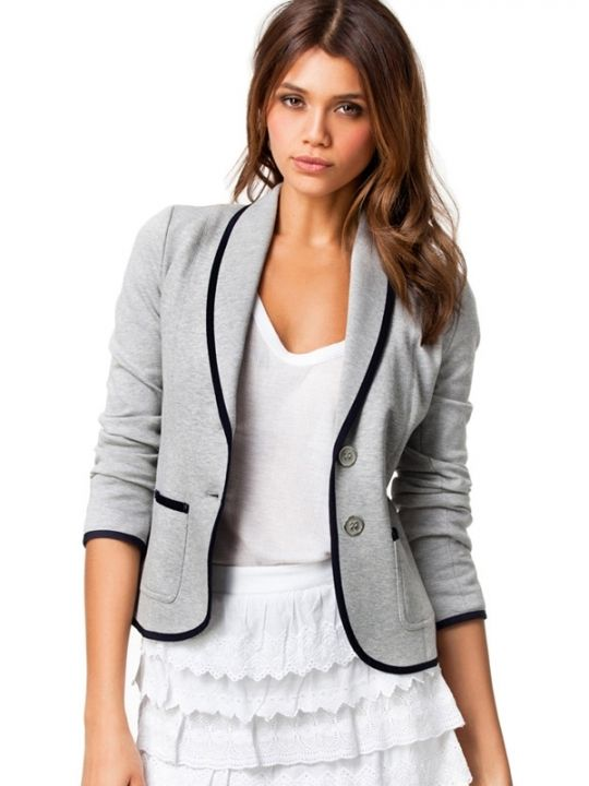 S-XXL Brief Tailored Collar Black Trimmed Cotton Women Short Coats