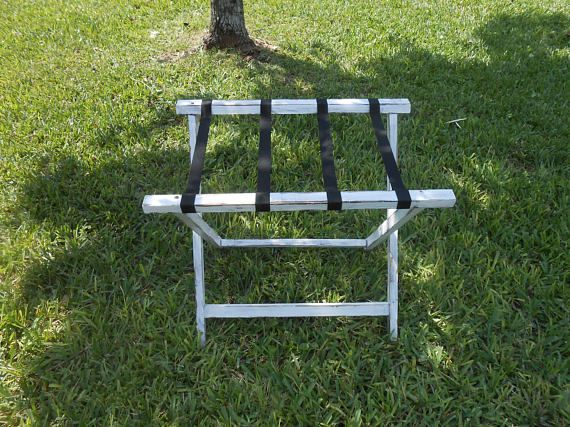 Wood Luggage Rack White Distressed Luggage Rack