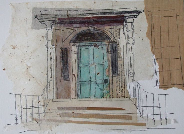 Blue Door Newtown, Edinburgh Collage with Pencil Drawing May 2013