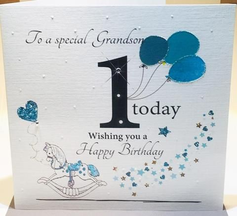 Large Happy 1st Birthday Card Grandson To Shourie From