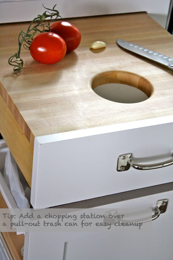 Cutting Board pull out over the top of pull out garbage can