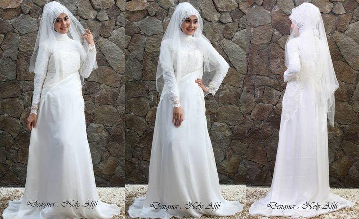 busana pengantin muslimah Putih Brocade mewah by Nely Afifi http://nelyafifi.com