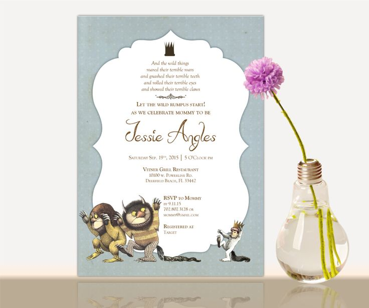 14 best where the wild things are shower images on pinterest, Baby shower invitations