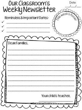 Classroom Weekly Newsletter   6 Simple Templates